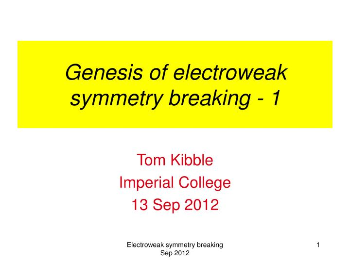 genesis of electroweak symmetry breaking 1 n.