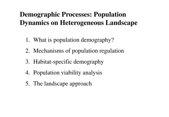 Demographic Processes: Population Dynamics on Heterogeneous Landscape
