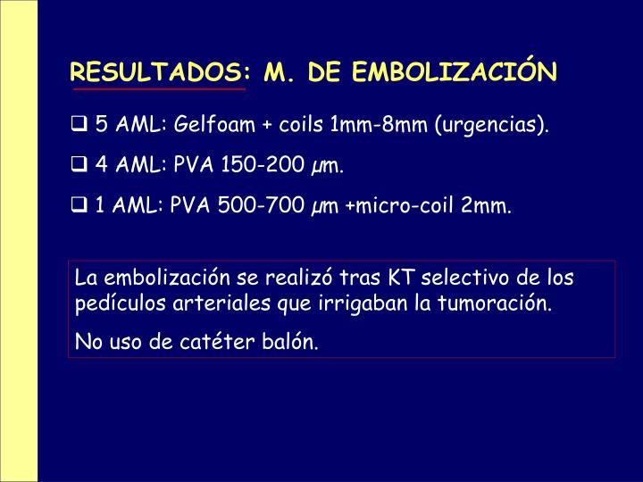 RESULTADOS: M. DE EMBOLIZACIÓN