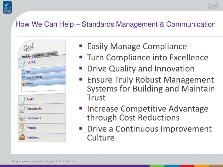 How We Can Help – Standards Management & Communication