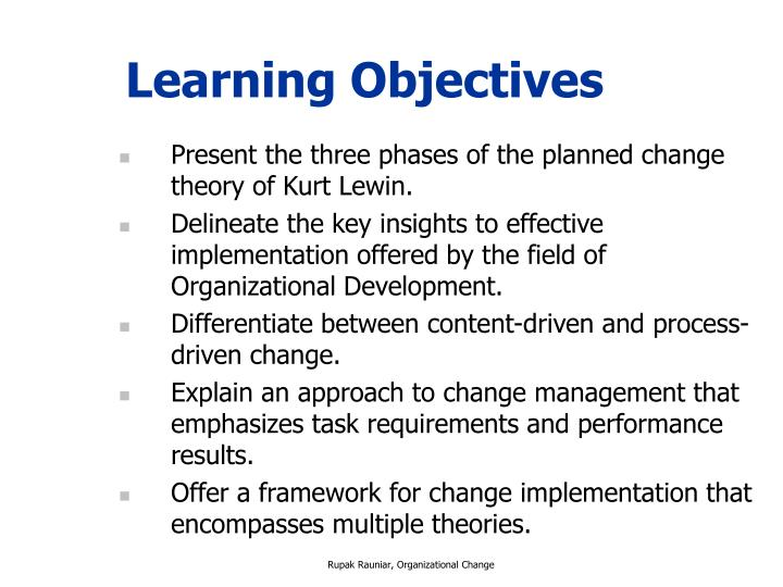 theories of planned change in organisational development