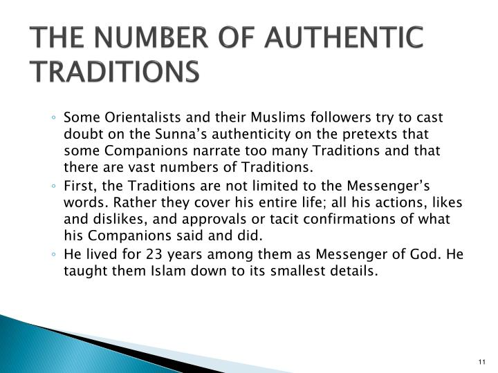THE NUMBER OF AUTHENTIC TRADITIONS