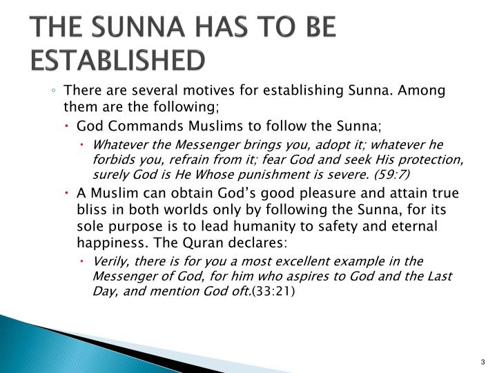 The sunna has to be established1