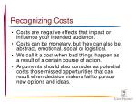 recognizing costs