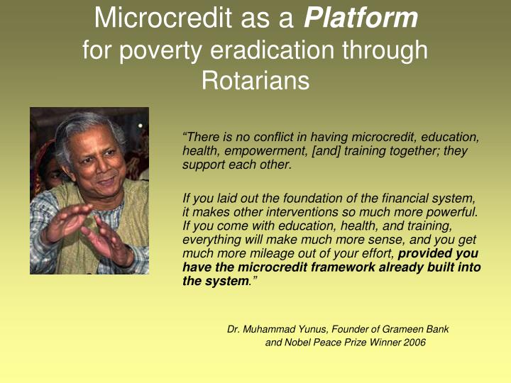 Microcredit as a