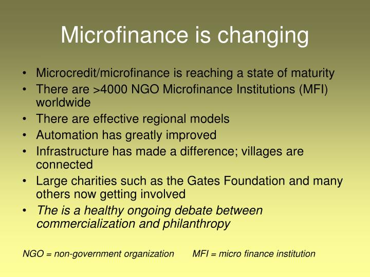 Microfinance is changing