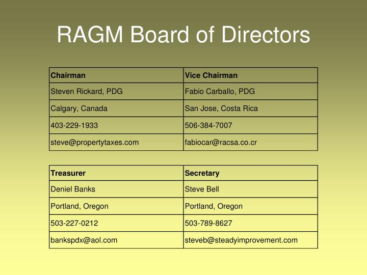 RAGM Board of Directors