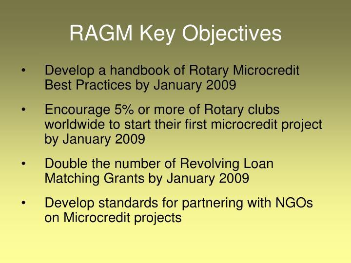 RAGM Key Objectives