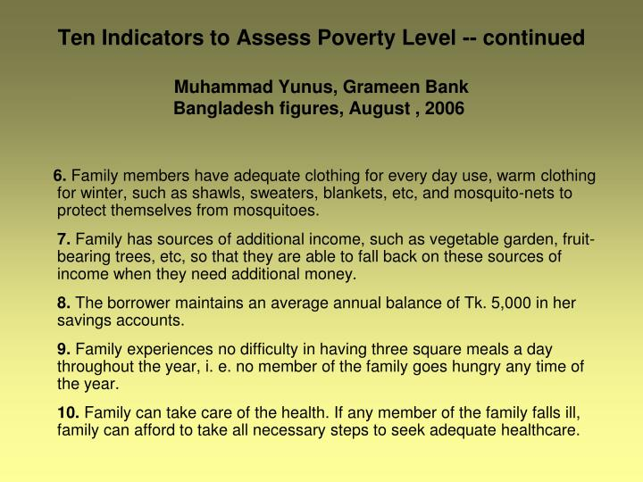 Ten Indicators to Assess Poverty Level -- continued