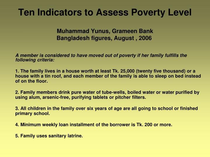 Ten Indicators to Assess Poverty Level