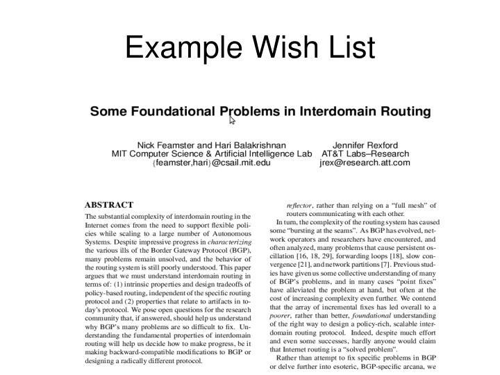 Example Wish List