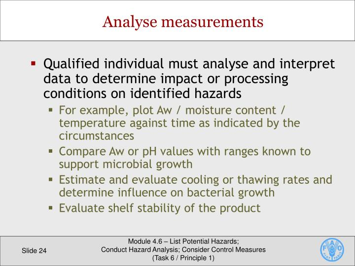 Qualified individual must analyse and interpret data to determine impact or processing conditions on identified hazards