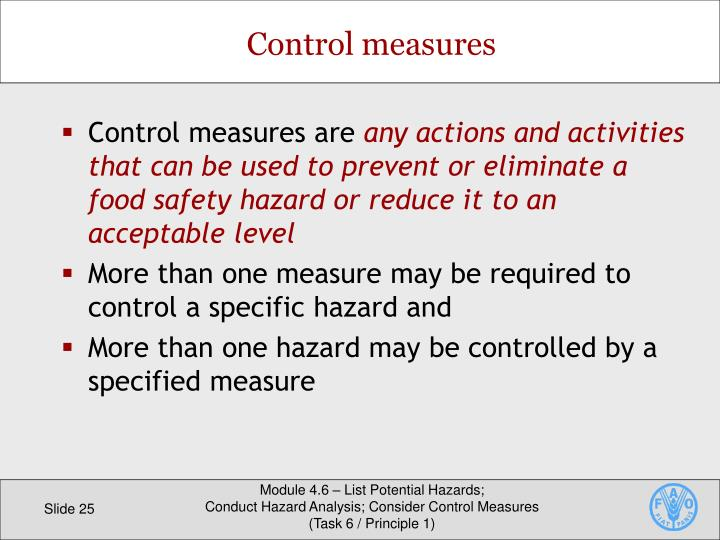 Control measures are