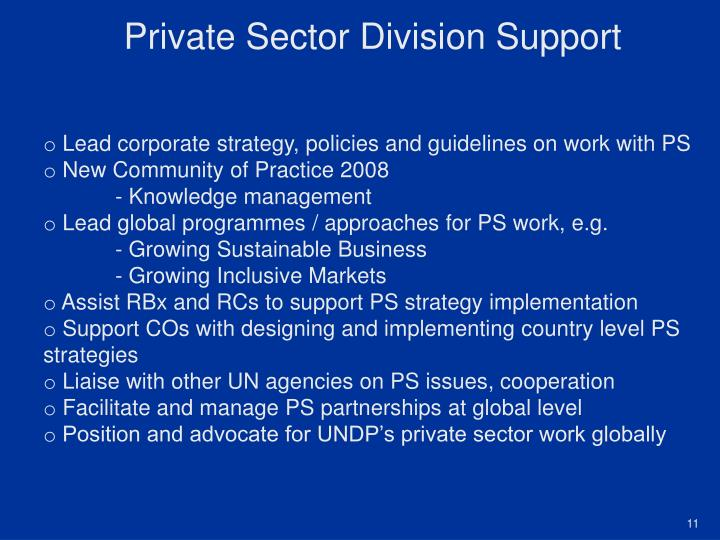 Private Sector Division Support