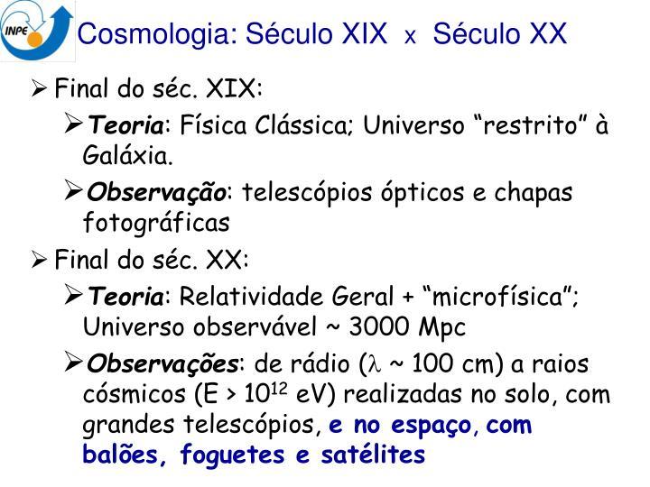 Cosmologia: Século XIX