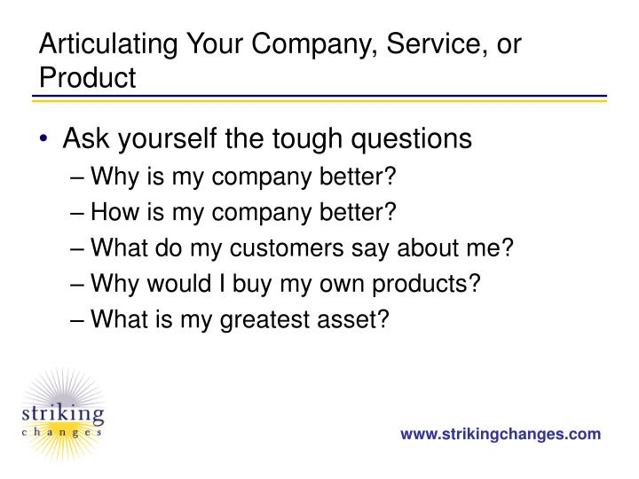 Articulating Your Company, Service, or Product