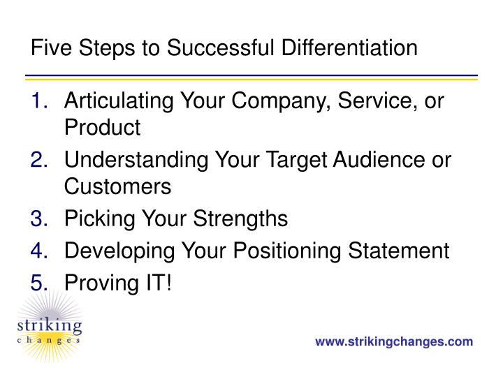 Five Steps to Successful Differentiation