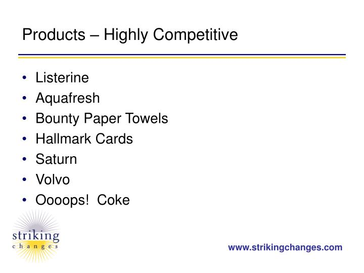 Products – Highly Competitive