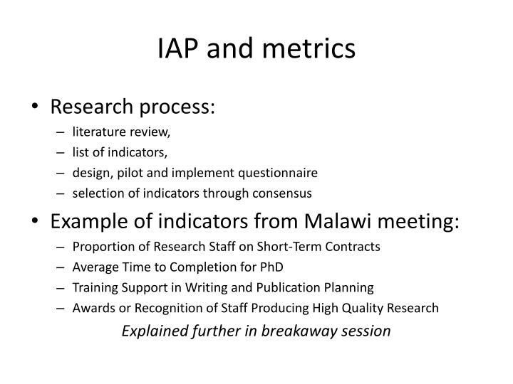 IAP and metrics