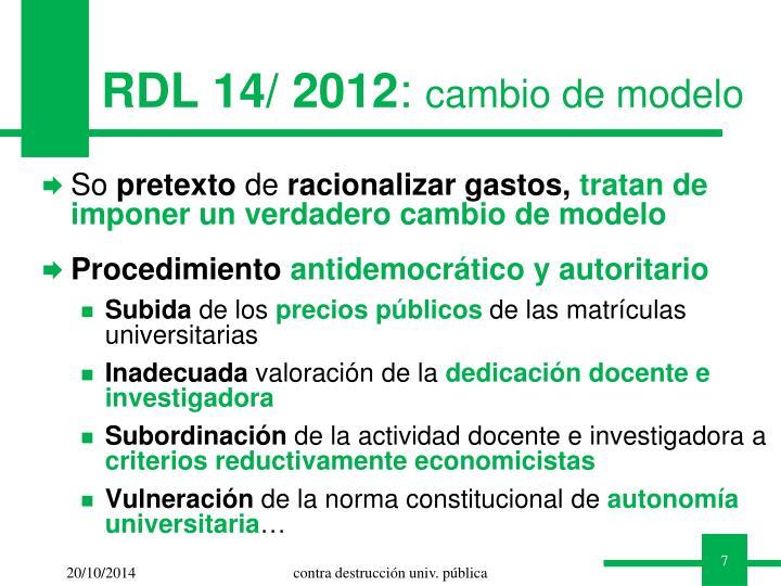 RDL 14/ 2012