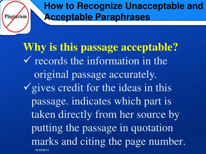 How to Recognize Unacceptable and Acceptable Paraphrases