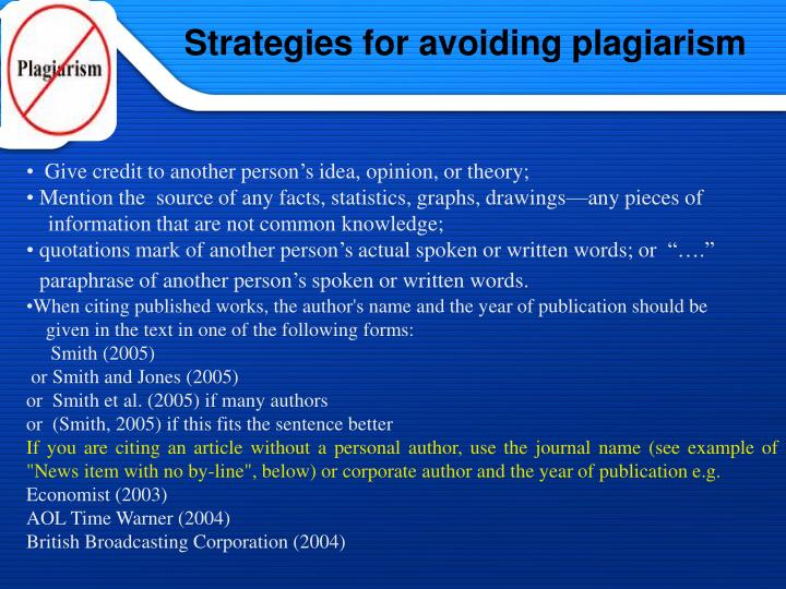Strategies for avoiding plagiarism