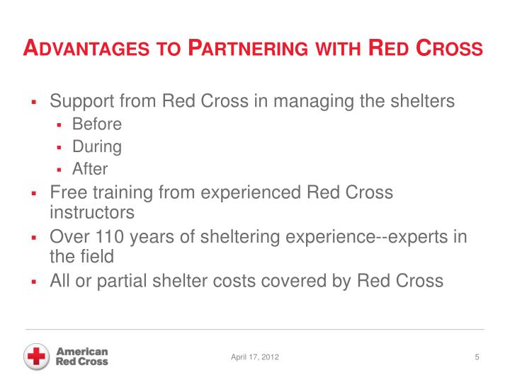 Advantages to Partnering with Red Cross