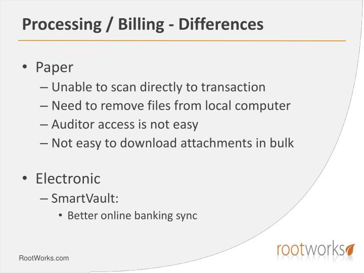 Processing / Billing - Differences