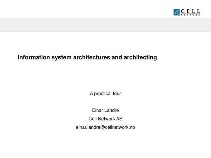 information system architectures and architecting n.