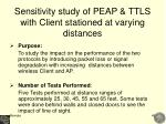 sensitivity study of peap ttls with client stationed at varying distances