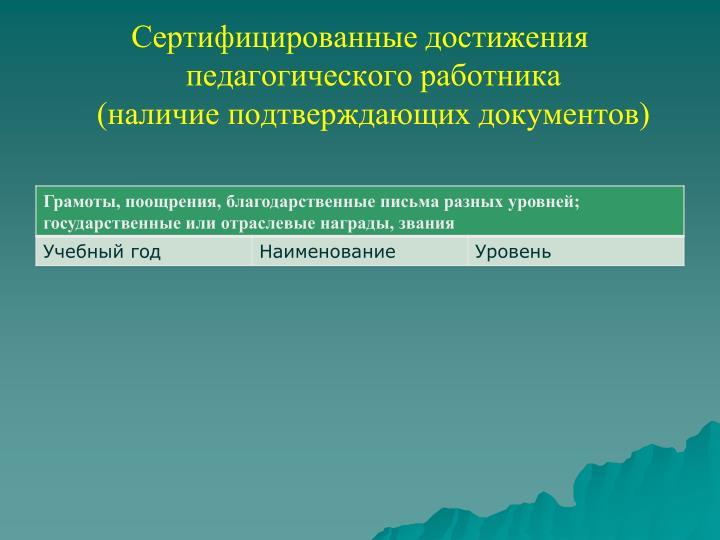 Сертифицированные достижения педагогического работника