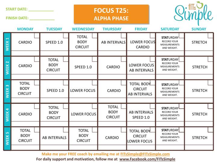 Images of T25 Schedule Printable - #rock-cafe
