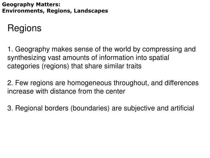 Geography Matters: