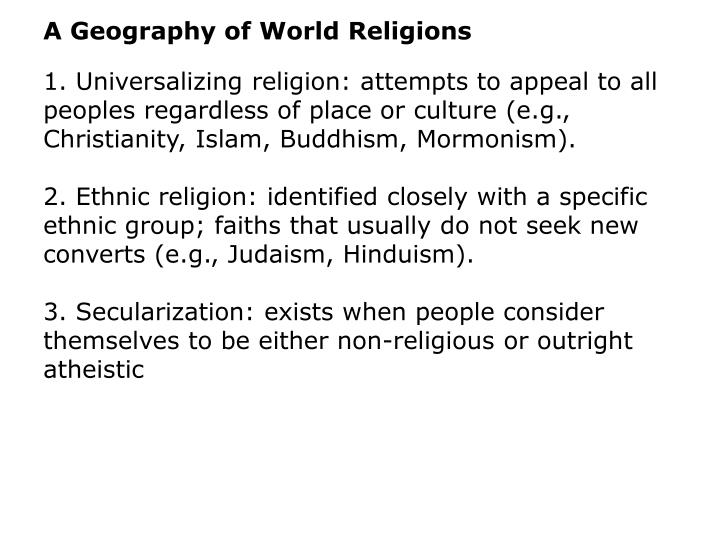 A Geography of World Religions