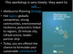this workshop is very timely they want to talk