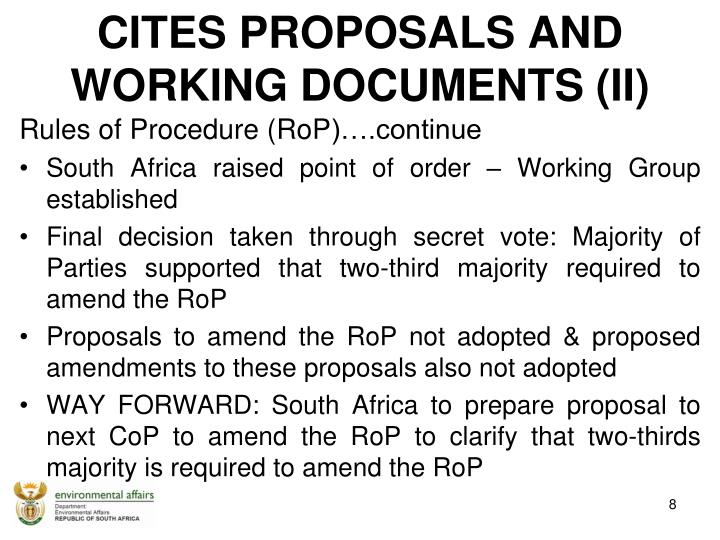 CITES PROPOSALS AND  WORKING DOCUMENTS (II)