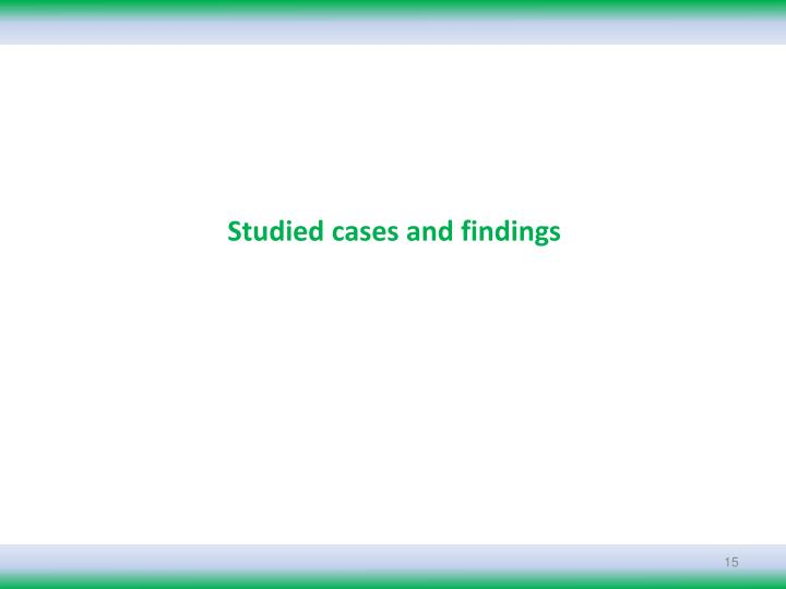 Studied cases and findings