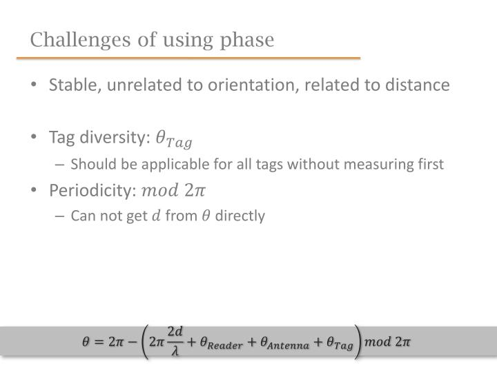Challenges of using phase