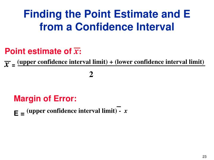 Finding the Point Estimate and E