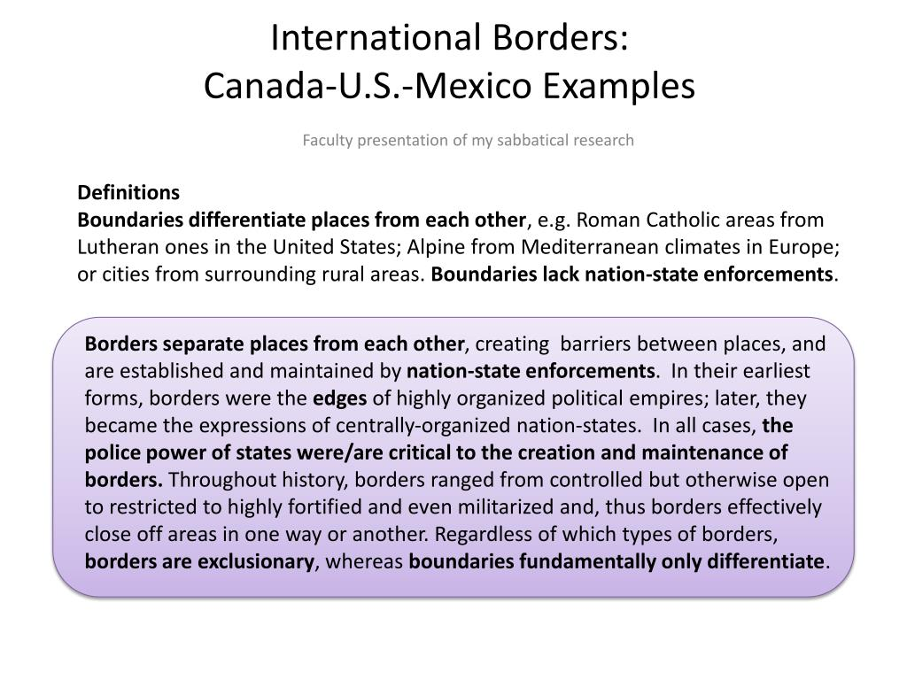ppt international borders canada u s mexico examples powerpoint