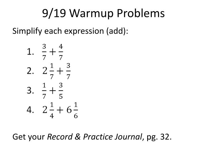 9 19 warmup problems