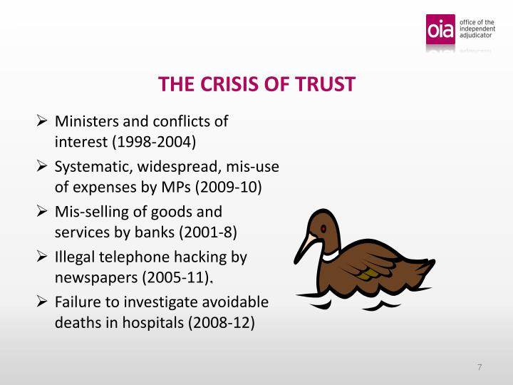 THE CRISIS OF TRUST