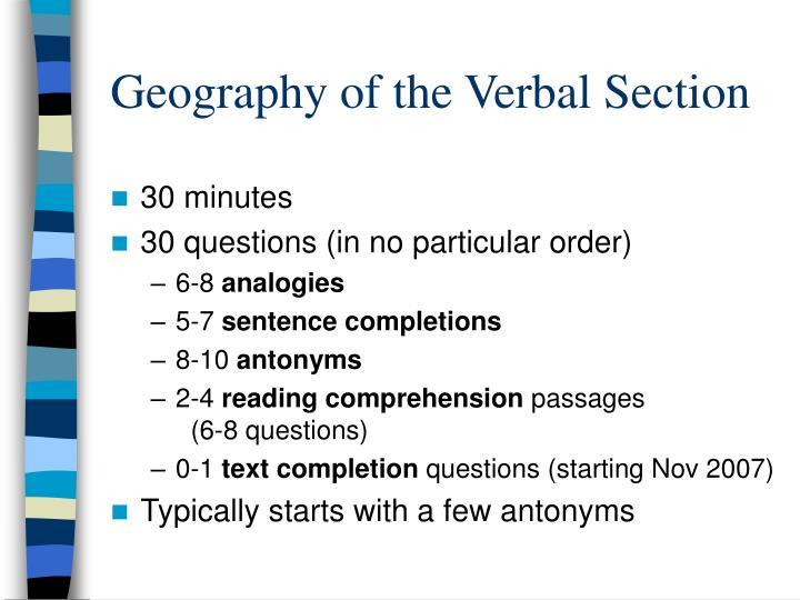 Geography of the verbal section