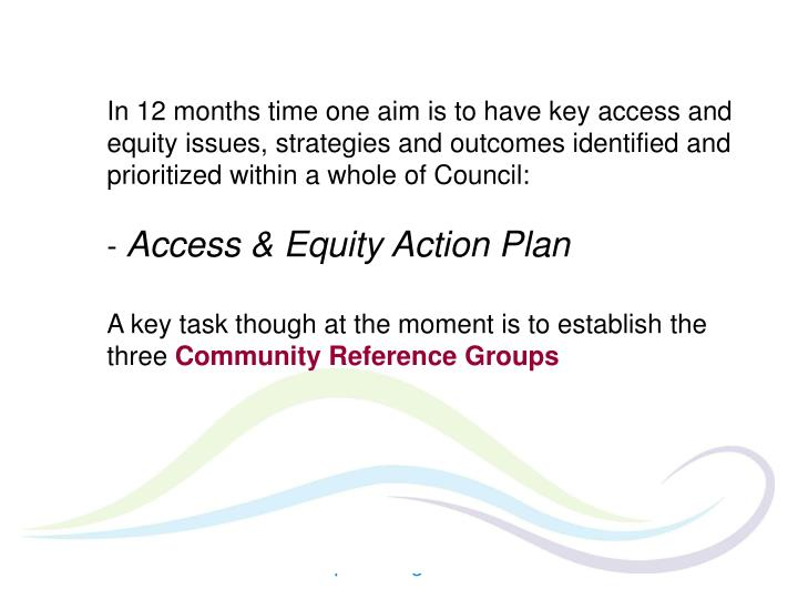 In 12 months time one aim is to have key access and equity issues, strategies and outcomes identified and prioritized within a whole of Council: