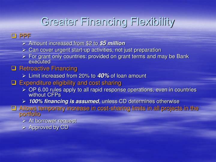 Greater Financing Flexibility