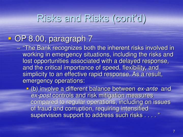 Risks and Risks (cont'd)