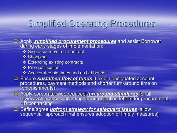 Simplified Operating Procedures