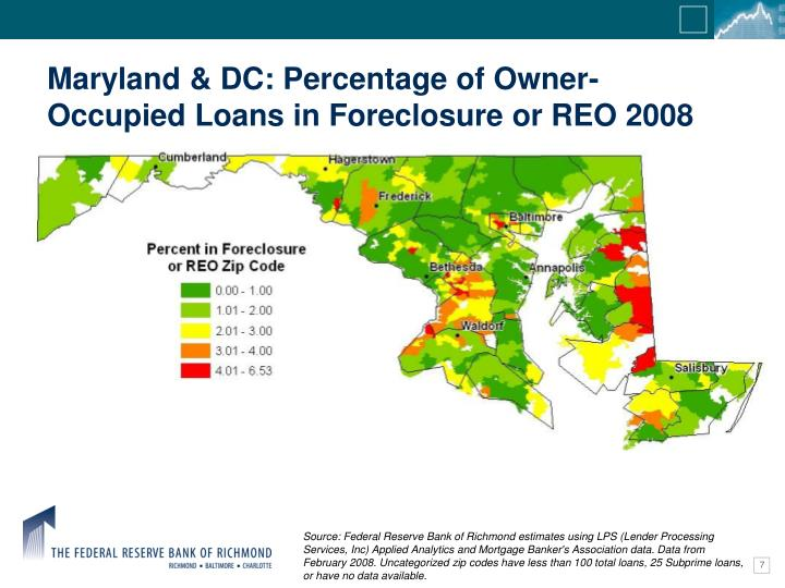 Maryland & DC: Percentage of Owner-Occupied Loans in Foreclosure or REO 2008