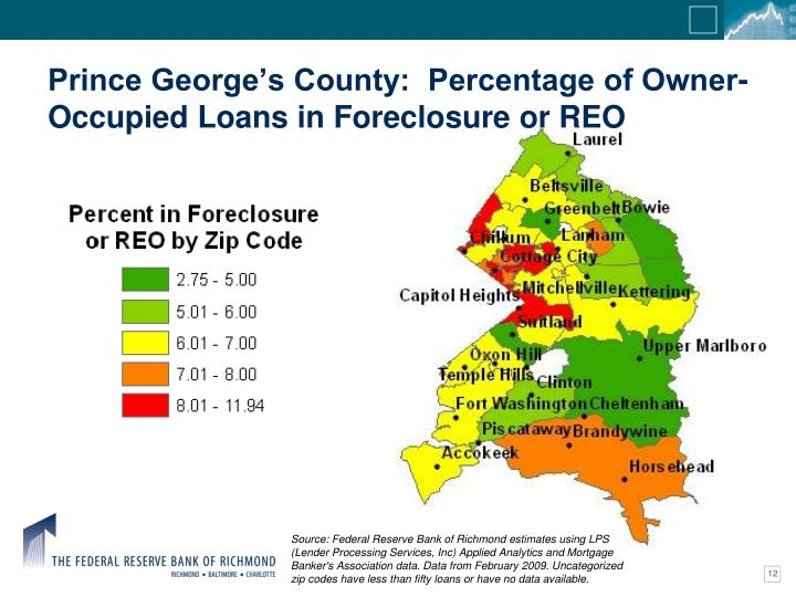 Prince George's County:  Percentage of Owner-Occupied Loans in Foreclosure or REO