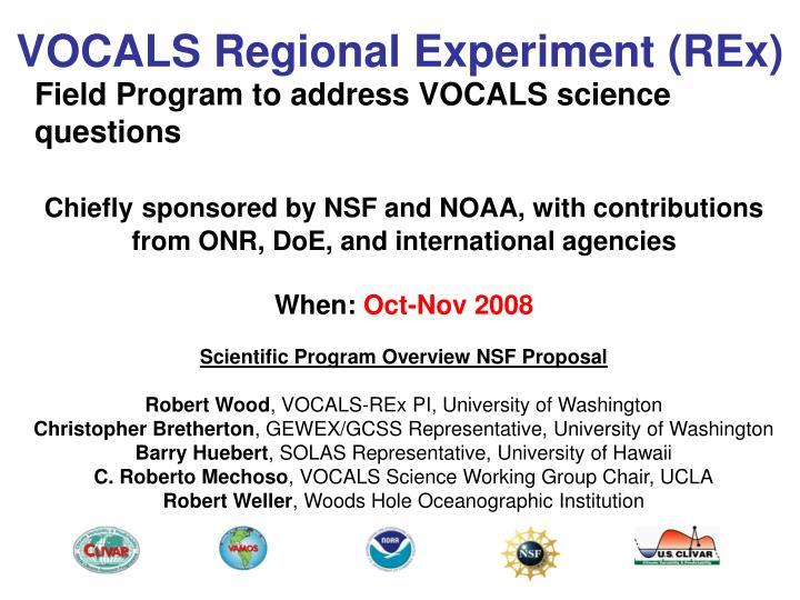 Vocals regional experiment rex